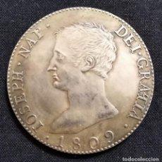 Reproducciones billetes y monedas: MONEDA JOSÉ NAPOLEON 8 REALES 1809 REPLICA TAMAÑO REAL 23,17 GRAMOS FUERTE BAÑO DE PLATA. Lote 203391761