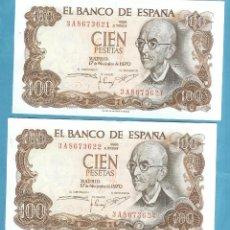 Reproducciones billetes y monedas: 2 BILLETES CORRELATIVOS DE 100 PESETAS 1970. SERIE 3A. Lote 203639041