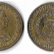 Reproducciones billetes y monedas: ESPAÑA FELIPE V 1700-0746 8 ESCUDOS *PELUCONA* 1729 (REPRODUCCION CHAPADO ORO). Lote 203810343