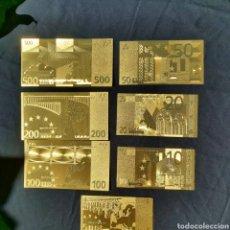 Reproducciones billetes y monedas: COLECCIÓN DE 7 BILLETES DE EUROS.. Lote 205073530