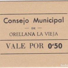 Reproducciones billetes y monedas: BILLETE DE 50 CENTIMOS DEL CONSEJO MUNICIPAL DE ORELLANA LA VIEJA - SIN CIRCULAR (SC). Lote 205164987