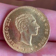 Reproducciones billetes y monedas: MONEDA ORO 25 PESETAS ALFONSOXII 1881. Lote 205282238