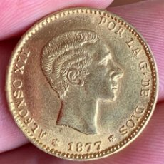 Reproducciones billetes y monedas: MONEDA ORO 25 PESETAS ALFONSO XII 1877. Lote 205283098