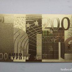 Reproducciones billetes y monedas: BILLETE DE COLECCIÓN DORADO 200 EUROS.. Lote 205316908