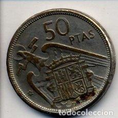 Reproducciones billetes y monedas: MONEDA DE 50 PESETAS FALSA DE EPOCA - LA QUE SE VE EN LAS FOTOS - FOTO ADICIONAL. Lote 205451806