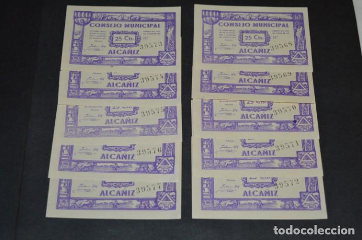 10 BILLETES GUERRA CIVIL / 25 CÉNTIMOS / CONSEJO MUNICIPAL ALCAÑIZ JUNIO 1937 - CONSECUTIVOS ¡MIRA! (Numismática - Reproducciones)