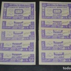 Reproducciones billetes y monedas: 10 BILLETES GUERRA CIVIL / 25 CÉNTIMOS / CONSEJO MUNICIPAL ALCAÑIZ JUNIO 1937 - CONSECUTIVOS ¡MIRA!. Lote 205802766