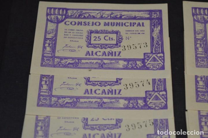 Reproducciones billetes y monedas: 10 BILLETES GUERRA CIVIL / 25 Céntimos / Consejo Municipal Alcañiz JUNIO 1937 - CONSECUTIVOS ¡Mira! - Foto 2 - 205802766