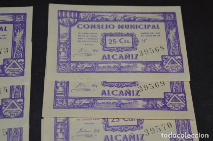 Reproducciones billetes y monedas: 10 BILLETES GUERRA CIVIL / 25 Céntimos / Consejo Municipal Alcañiz JUNIO 1937 - CONSECUTIVOS ¡Mira! - Foto 3 - 205802766
