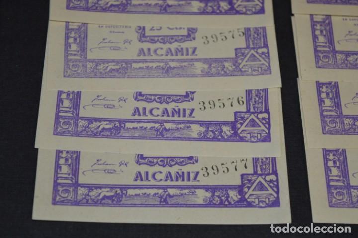 Reproducciones billetes y monedas: 10 BILLETES GUERRA CIVIL / 25 Céntimos / Consejo Municipal Alcañiz JUNIO 1937 - CONSECUTIVOS ¡Mira! - Foto 4 - 205802766