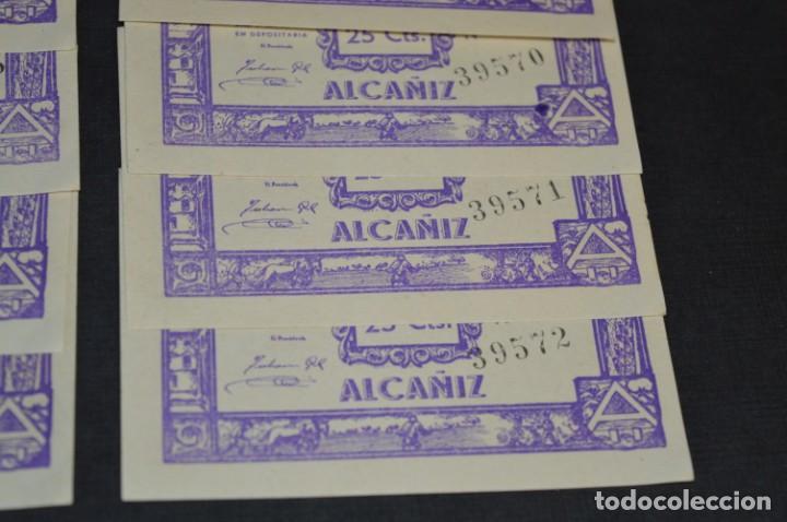 Reproducciones billetes y monedas: 10 BILLETES GUERRA CIVIL / 25 Céntimos / Consejo Municipal Alcañiz JUNIO 1937 - CONSECUTIVOS ¡Mira! - Foto 5 - 205802766