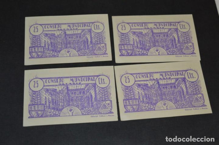 Reproducciones billetes y monedas: 10 BILLETES GUERRA CIVIL / 25 Céntimos / Consejo Municipal Alcañiz JUNIO 1937 - CONSECUTIVOS ¡Mira! - Foto 7 - 205802766