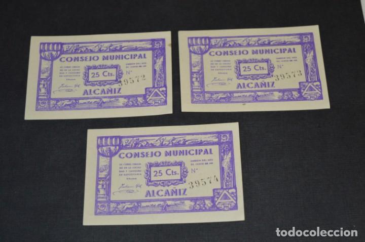 Reproducciones billetes y monedas: 10 BILLETES GUERRA CIVIL / 25 Céntimos / Consejo Municipal Alcañiz JUNIO 1937 - CONSECUTIVOS ¡Mira! - Foto 8 - 205802766
