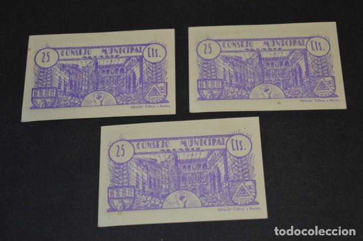 Reproducciones billetes y monedas: 10 BILLETES GUERRA CIVIL / 25 Céntimos / Consejo Municipal Alcañiz JUNIO 1937 - CONSECUTIVOS ¡Mira! - Foto 9 - 205802766