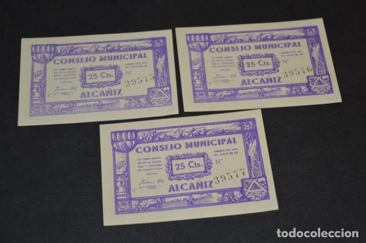 Reproducciones billetes y monedas: 10 BILLETES GUERRA CIVIL / 25 Céntimos / Consejo Municipal Alcañiz JUNIO 1937 - CONSECUTIVOS ¡Mira! - Foto 11 - 205802766