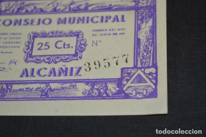 Reproducciones billetes y monedas: 10 BILLETES GUERRA CIVIL / 25 Céntimos / Consejo Municipal Alcañiz JUNIO 1937 - CONSECUTIVOS ¡Mira! - Foto 12 - 205802766