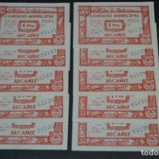 Reproducciones billetes y monedas: 10 BILLETES GUERRA CIVIL / 1 PTA. - UNA PESETA / CONSEJO MUNICIPAL ALCAÑIZ JUNIO 1937 - CONSECUTIVOS. Lote 205805048