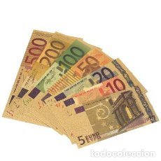 Reproducciones billetes y monedas: 7 BILLETES, 24K ORO, 5-10-20-50-100-200-500 EUROS. Lote 206139285