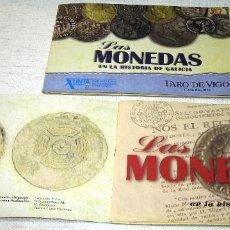 Reproducciones billetes y monedas: LAS MONEDAS EN LA HISTORIA DE GALICIA, FARO DE VIGO. 2 LIBROS ESTUCHES CONTENEDOR (INCOMPLETOS). Lote 206252581