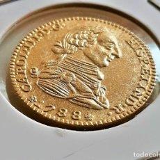 Reproducciones billetes y monedas: 1788 ESPAÑA 2 ESCUDOS-CARLOS III ORO 24.K CHAPADA - 5.00.GRAMOS - 22.MM DIAMETRO. Lote 221728168