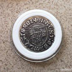Reproducciones billetes y monedas: MONEDA ANTIGUA TEMPLARIA CON CRUZ. Lote 206457035