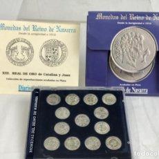 Reproducciones billetes y monedas: DIARIO DE NAVARRA 13 MONEDAS EN PLATA DE LEY. Lote 206492222