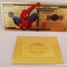 Reproducciones billetes y monedas: EXCLUSIVO BILLETE DE COLLECCION DE SPIDERMAN 99,9% ORO 24 K CON CERTIFICADO DE AUTENTICIDAD. Lote 206500495