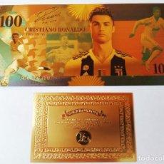 Reproducciones billetes y monedas: EXCLUSIVO BILLETE DE COLLECCION DE CRISTIANO RONALDO 99,9% ORO 24 K CON CERTIFICADO DE AUTENTICIDAD. Lote 206500980