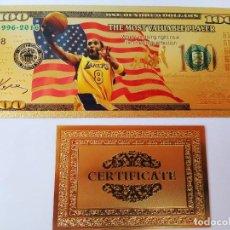 Reproducciones billetes y monedas: EXCLUSIVO BILLETE HOMENAJE AL JUGADOR DE BASKET 99,9% ORO 24 K CON CERTIFICADO DE AUTENTICIDAD. Lote 206502277