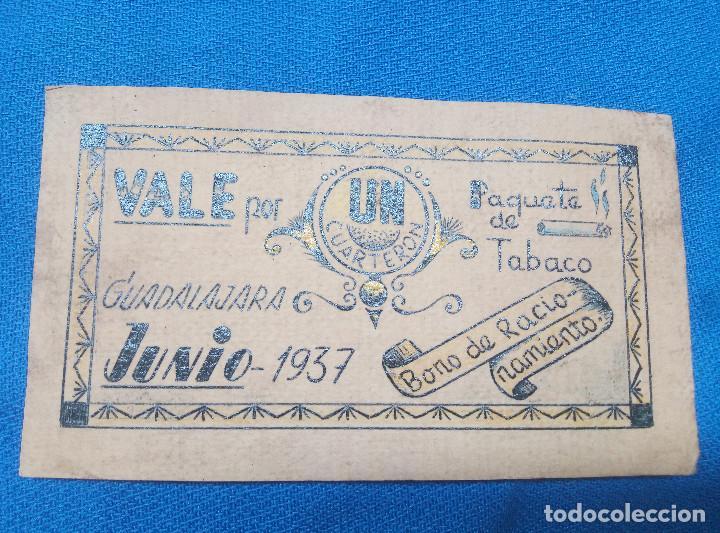 BILLETE LOCAL GUADALAJARA 1937 VALE POR UN CUARTERON PAQUETE DE TABACO * PERFECTO * (Numismática - Reproducciones)