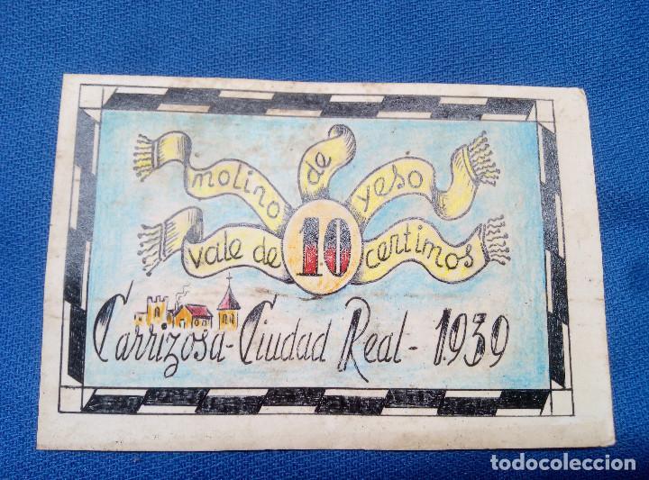 BILLETE LOCAL MOLINO DE YESO 1939 CARRIZOSA ( CIUDAD REAL ) VALE DE 10 CENTIMOS * PERFECTO * (Numismática - Reproducciones)