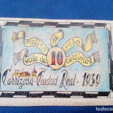 Reproducciones billetes y monedas: BILLETE LOCAL MOLINO DE YESO 1939 CARRIZOSA ( CIUDAD REAL ) VALE DE 10 CENTIMOS * PERFECTO *. Lote 207235237