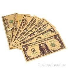Reproducciones billetes y monedas: 8 BILLETES DE DÓLAR DE 1 A 100. ORO.. Lote 207248383