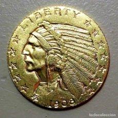 Reproducciones billetes y monedas: COPIA MONEDA AMERICANA 5 DOLARES 1908. INDIO Y ÁGUILA.. Lote 207887521