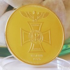 Riproduzioni banconote e monete: MONEDA ORO 24KT DEUTSCHES REICH REICHSBANK1871 ALEMANIA CRUZ DE HIERRO EN SU CAPSULA PROTECTORA. Lote 209870350