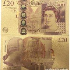 Reproducciones billetes y monedas: GRAN BRETAÑA - 20 LIBRAS CONMEMORATIVO - COLOREADO, PAPEL ALUMINIO BAÑADO EN ORO - COLECCIONABLES. Lote 210142332