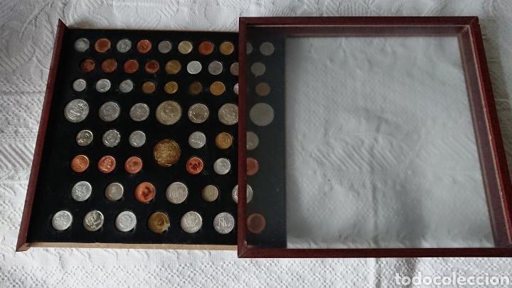 EXPOSITOR DE MADERA CON 60 MONEDAS , MONEDAS RARAS (Numismática - Reproducciones)