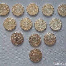 Reproducciones billetes y monedas: REYES CATÓLICOS. 20 EXCELENTES (1506-1543) REPRODUCCIÓN BAÑADA EN ORO.. Lote 210284415