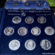Reproducciones billetes y monedas: LOTE HISTORIA DE LA PESETA EN PLATA. Lote 210322307