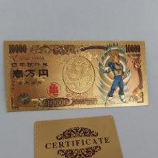 Reproduções notas e moedas: BILLETE DE ORO 24K EN HOMENAJE A DRAGON BALL Z ( BOLA DEL DRAC) CON CERTIFICADO DE AUTENTICIDAD M2. Lote 210329346