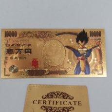 Reproduções notas e moedas: BILLETE DE ORO 24K EN HOMENAJE A DRAGON BALL Z ( BOLA DEL DRAC) CON CERTIFICADO DE AUTENTICIDAD M3. Lote 210329391