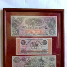 Reproducciones billetes y monedas: 3 FASCIMIL; LITCHFIELD BANK (5$)1858,HUGUENOT BANK (5$)1861,CERT;(10CTS) 1862 NEW WARK (DESCRIPCIÓN. Lote 210437110