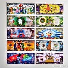 Reproducciones billetes y monedas: SET DE 10 BILLETES DIBUJOS ANIMADOS TV Y CINE COLECCION CONMEMORATVA. Lote 210437211