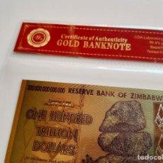 Reproducciones billetes y monedas: ZIMBABWE ONE HUNDRED TRILLION DOLLARS 100 000 000 000 000 GOLD BILLETE ORO BAÑADO COLOR CERTIFICADO. Lote 210437288