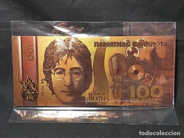 BILLETE CONMEMORATIVO DE LOS BEATLES. JOHN LENNON (Numismática - Reproducciones)