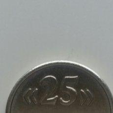 Reproducciones billetes y monedas: RÉPLICA MONEDA 25 PESETAS PARA PRUEBA MÁQUINA TRAGAPERRAS. Lote 212981346