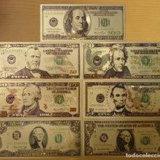 Reproducciones billetes y monedas: 7 BILLETES DE DOLARES EEUU CON BAÑO DE ORO DE 24K MIRA LAS FOTOS ( LAS FOTOS NO LES HACEN JUSTICA),. Lote 212993050