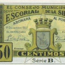 Reproducciones billetes y monedas: REPRODUCCIÓN BILLETE. ESCORIAL DE LA SIERRA. BILL-754 ,2. Lote 213319663