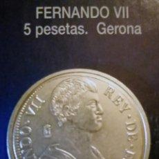 Reproducciones billetes y monedas: 5 PESETAS FERNANDO VII-GERONA. Lote 213439543