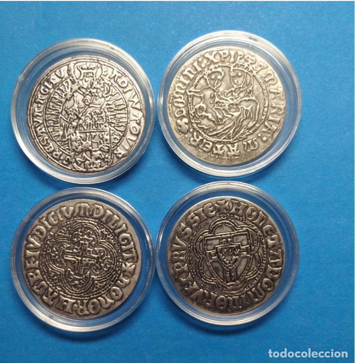 Reproducciones billetes y monedas: LOTE 4 MONEDAS TEMPLARIAS - Foto 2 - 213466927